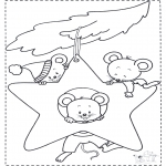 Animals coloring pages - Mouse at Christmas star