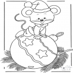 Winter coloring pages - Mouse with bauble