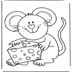 Animals coloring pages - Mouse with cheese