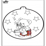 Theme coloring pages - New Year Pricking card