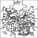Theme coloring pages - New Year puzzle