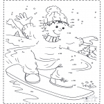 Winter coloring pages - Numberdrawing snowboard