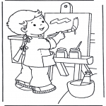 Kids coloring pages - Painting on canvas