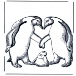 Animals coloring pages - Penguin with baby