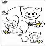 Animals coloring pages - Pigs 4