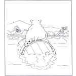 Animals coloring pages - Polar bear on a barrel