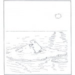 Animals coloring pages - Polar bear on ice