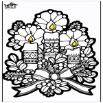 Christmas coloring pages - Pricking card candles