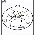 Winter coloring pages - Pricking card snowman 1