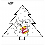 Christmas coloring pages - Pricking card snowman 2