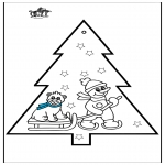 Christmas coloring pages - Pricking card snowman 3