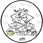 Christmas coloring pages - Prickingcard Christmas tree 3