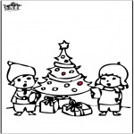 Christmas coloring pages - Prickingcard Christmas tree 4