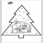 Christmas coloring pages - Prickingcard crib 2