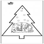 Christmas coloring pages - Prickingcard crib 3