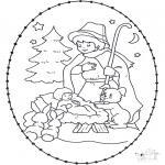 Christmas coloring pages - Prickingcard crib