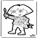 Crafts pricking cards - Prickingcard Dora 1