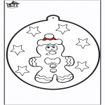 Christmas coloring pages - Prickingcard Gingerbread man 1