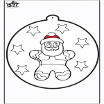 Christmas coloring pages - Prickingcard Gingerbread man 2