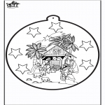 Christmas coloring pages - Prickingcard Joseph and Maria