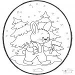 Crafts pricking cards - Prickingcard rabbit