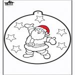 Christmas coloring pages - Prickingcard Santa