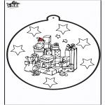 Christmas coloring pages - Prickingcard Xmas presents 1