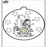 Christmas coloring pages - Prickingcard Xmas presents 2