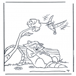 Animals coloring pages - Raccoon and kolibri
