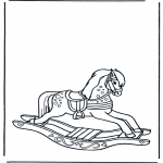Kids coloring pages - Rocking horse 1