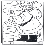 Christmas coloring pages - Santa at Chimney