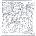 Christmas coloring pages - Singing at X-mas