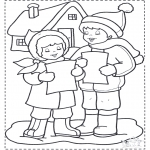 Winter coloring pages - Singing in the snow