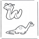 Animals coloring pages - Snake and dino