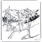 Winter coloring pages - Snow in Yellowstone 1