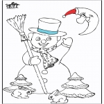 Winter coloring pages - Snowman 5