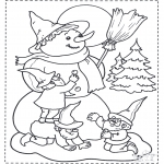 Winter coloring pages - Snowman and dwarf