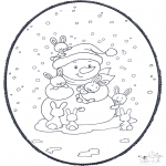 Crafts pricking cards - Snowman prickingcard