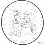 Crafts pricking cards - Snowman prickingcard
