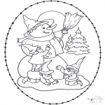 Winter coloring pages - Snowman stitching card