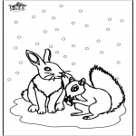 Winter coloring pages - Squirrel and rabbit