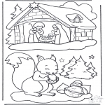 Winter coloring pages - Squirrel in the snow