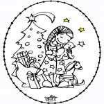 Craffts stitching cards - Stitchingcard Girl and Christmastree