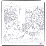 Christmas coloring pages - Sweeping at X-mas
