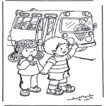 Kids coloring pages - To school 4