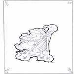 Kids coloring pages - Toddler in buggy