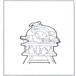 Kids coloring pages - Toddler on chair