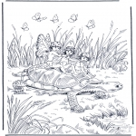 Animals coloring pages - Turtle with elf