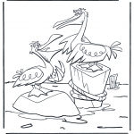 Animals coloring pages - Two pelicans