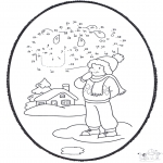 Winter coloring pages - Winter prickingcard 1